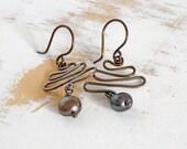 Copper Earrings, Black Pearl Earrings, Geometric Jewellery, Copper Wire Jewelry, Brown Earrings, Rustic Jewellery, Patina Earrings