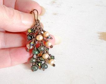 Cluster Earrings, Green and Peach Pearl Earrings, Copper Wire Jewelry, Cascade Earrings, Chain Drop Earrings, Patina Jewellery