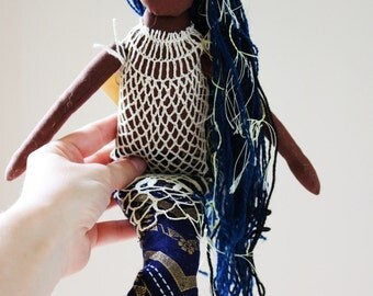 Blue Seaweed Mermaid - Handmade Heirloom Cloth by the Evergreen Doll Company