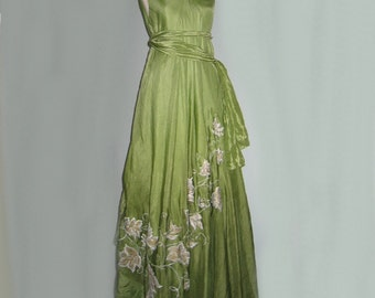 Silk hand painted dress FANTASY LEAVES