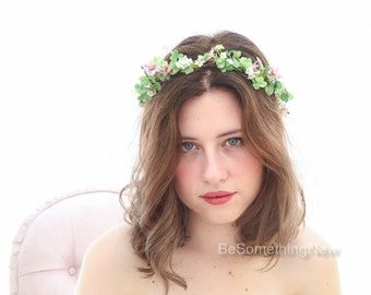 Green and Lilac Rustic Flower Crown Woodland Wedding Hair Halo Flower Headband Boho Wedding Hair Wreath of Shamrock Leaves and Flowers