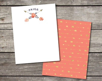 Personalized Set of 10 Coral Arrows and Roses Notecards for Teacher Gift Coworker Gift Thank You Notes or Personal Stationery