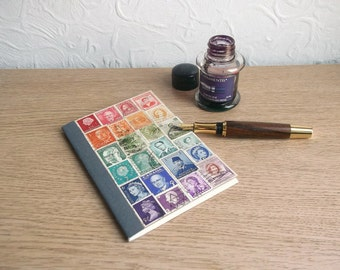 Recycled Rainbow Pocket Travel Journal, Lined A6 Traveler's Notebook | Upcycled Eco Postage Stamp Art | LGBT Boho Student Hippie Travel Gift