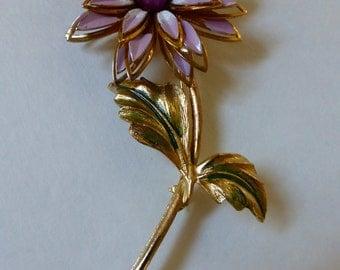 1960s Enamel Flower Pin w Moonglow Lucite Center Lavender & White