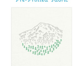 MT RAINIER fabric for embroidery, pre-printed embroidery pattern, landscape embroidery, national parks, travel souvenir by StudioMME