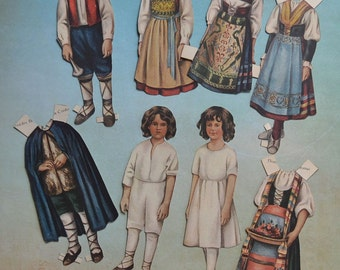 Antique Lettie Lane Magazine Paper Dolls Italian Boy and Girl