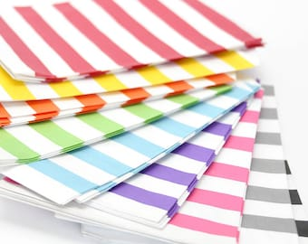 "25 Medium Horizontal Stripe Paper Favor Bags or Gift Bags . Choose from 11 Colors . 5"" x 7.5"""