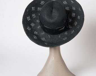 Vintage 1960s Black Straw Hat, 60s Designer Wide Brimmed Emme Hat, Black Vinyl Band, Made in France, Accessories, Hats & Caps, Sun Hats