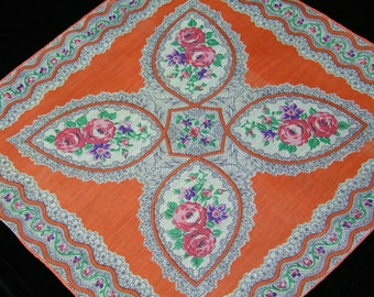 Vintage 1940's Pink, Purple, Coral Mixed Floral Paisley Wedding Handkerchief or Doily, 9713