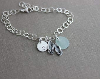Sterling Silver Flip flop and genuine Sea Glass Charm Bracelet Personalized with Hand Stamped Initial Charm, Large Link Sterling Chain