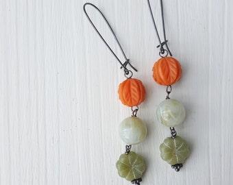 september garden - earrings - vintage lucite and sterling