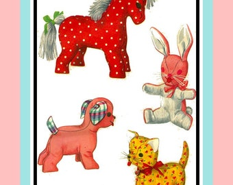 Vintage 1954-ADORABLE STUFFED TOYS-Sewing Pattern-Four Styles-Pretty Pony-Puppy Dog-Kitty-Huggable Bunny Rabbit-Two Heights-Rare-Collectible