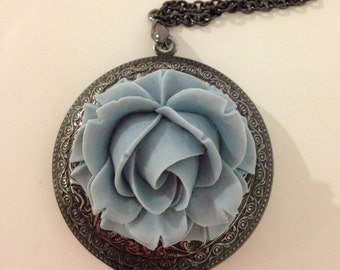 Large locket necklace black gunmetal locket big locket pendant blue flower locket rose pendant-Blue rose locket necklace