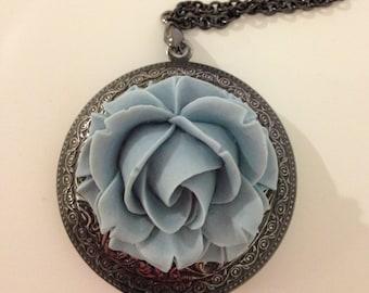 Large locket necklace black gunmetal locket big locket pendant blue flower locket rose pendant-Blue rose locket necklace