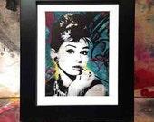Audrey Hepburn-NYC Breakfast at Tiffany's original mixed media graffiti urban street art transfer on newspaper portrait matboard