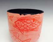 Fish Bowl, Ceramic Fish Pot, Red Tropical Fish Vase