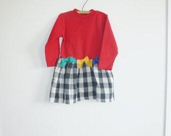 SALE // Vintage Red and Black Girl's Dress