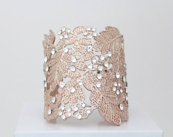Rose Gold Cuff Bracelet, Rose Gold Bridal bracelet, Wedding bracelet, Bridal jewelry, Swarovski crystal bracelet, Crystal bracelet
