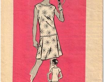 Drop Waistline Skort Dress Sewing Pattern Vintage 1970s Anne Adams 4859 Mail Order  Sleeveless Front Pleat Size 12 Bust 34