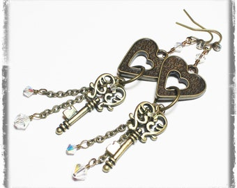 Love Me Tender... Handmade Jewelry Earrings Beaded Steampunk Skeleton Key Heart Metal Crystal Long Antique Brass Iridescent Long Lightweight