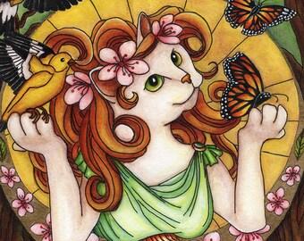Fantasy Cat Art Spring Nature Art Nouveau 8x10 Reproduction Print