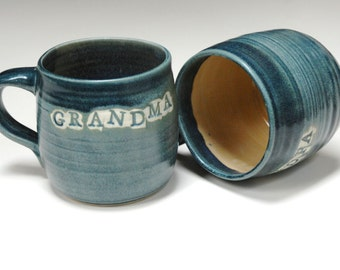 Grandparent mugs,gift for grandma,gift for grandpa,personalized cups,blue ceramic mugs,pair of cups,pottery cups,stoneware mugs,name mugs,