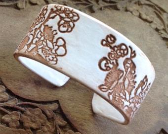 SALE Antique Ivory Style Bracelet, Asian Floral Design, Handmade Bracelets by theshagbag on Etsy