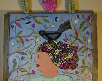 """FREE SHIPPING, Mixed Media, Clay, Folk Art Painting, 16""""x20"""", One of a Kind"""