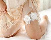 Lace wedding garter, white garter, ivory garter, bride gift, wedding boudoir - style 545