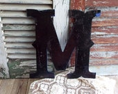 Letter M Initial M Vintage Metal Sign by avintageobsession on etsy