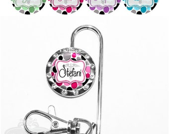 Polka Dot Purse Key Finder - Personalized Medical Caduceus Bag Key Chain Accessory in 4 Colors with Name, Monogram, Occupation (A387)