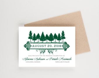 Pine Forest Save The Date, Mountain and Forest Theme,  Bridal Shower, Wedding Invitation