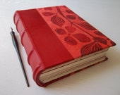 Heirloom Journal, Red Leather with Dogwood print, Multimedia Fine Art Papers, Archival European Case Binding