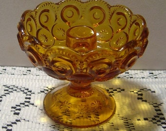 L. E. Smith Moon and Stars amber Candle Holder