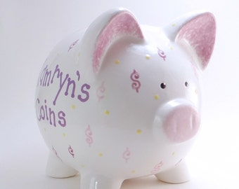 Money Piggy Bank - Personalized Piggy Bank - Dollars & Cents Bank - Dollar Sign Bank - Cash Theme Bank - with hole or NO hole in bottom
