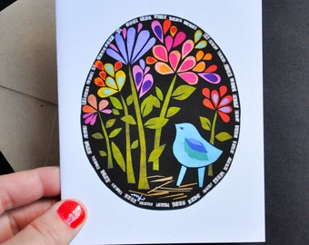 Greeting Card - Bluebird in the Midnight Garden by Megan Jewel Designs