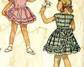 Vintage 40s Simplicity 2417 Toddler Girls Ruffled Dress with Bloomers Sewing Pattern Size 3