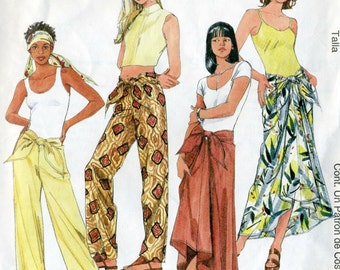 Vintage McCalls 9293 Misses UNCUT Tie Front Pants and Tie Front Scarf Skirt Sewing Pattern Size Med- Lrg