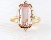 Emerald Cut Morganite and Diamond Ring - 14K Yellow Gold - Morganite and Engagement Ring - Melanie Casey Fine Jewelry