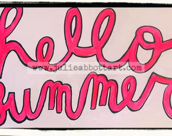 hello summer Print on Wood Canvas