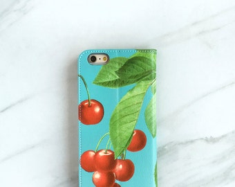 Cherry Retro Wallet Phone Case, iPhone 6S, 6, 7 Plus Wallet Pinup Girl Style