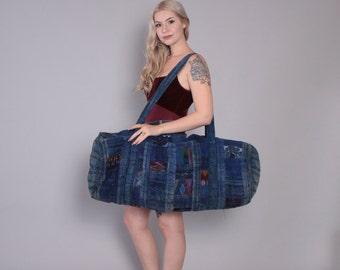 Vintage Travel BAG / Oversized Guatemalan Huipil Embroidered WEEKENDER Duffle Bag Backpack