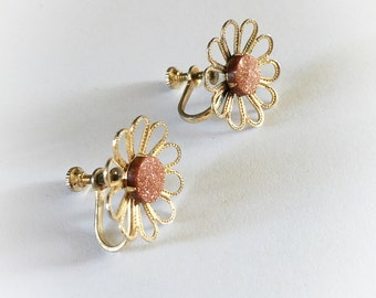 Vintage Goldstone Flower Earrings Screw Backs