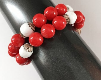 Vintage Red and White Plastic Bead Wrap Bracelet