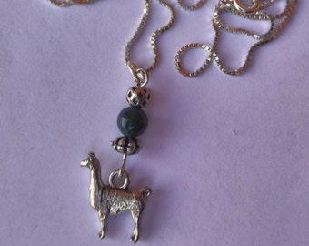 Pewter llama charm necklace with jade and silver beads