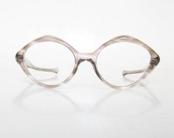 Vintage Hexagon Glasses 1960s Eyeglasses Mod Mid Century Womens Girls Clear Brown Tawny Sand 60s Mad Men Fashion Indie Chic