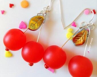 Retro Style Cherry Earrings, Vintage Style Fruit Earrings, Pin Up Style Jewelry, Rockabilly Jewelry, Carmen Miranda Earrings