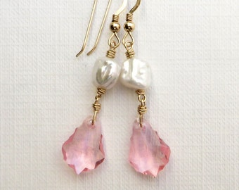 Keishi Pearls Baroque Rose Crystal Gold Earrings