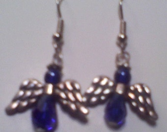 Angle Earrings Dark Blue glass Crystal Beads and Metal wings and halo Hand made in USA