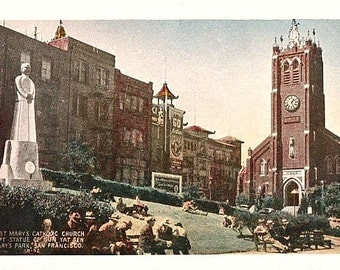 Vintage California Postcard - Old Saint Mary's Square in Chinatown, San Francisco (Unused)